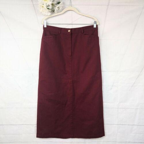 Vintage Long Flannel Boho Western Skirt Black Cream Wine Burgundy Checks L Large Un-linedLined Pine Cove Authentic  Dry Goods