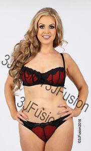 6179c10716 Black Red Bra   Thong Brief Lingerie Underwear Set Valentines Gift ...
