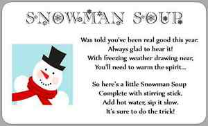 Snowman Soup Poem Sticker Labels Christmas Novelty Fun