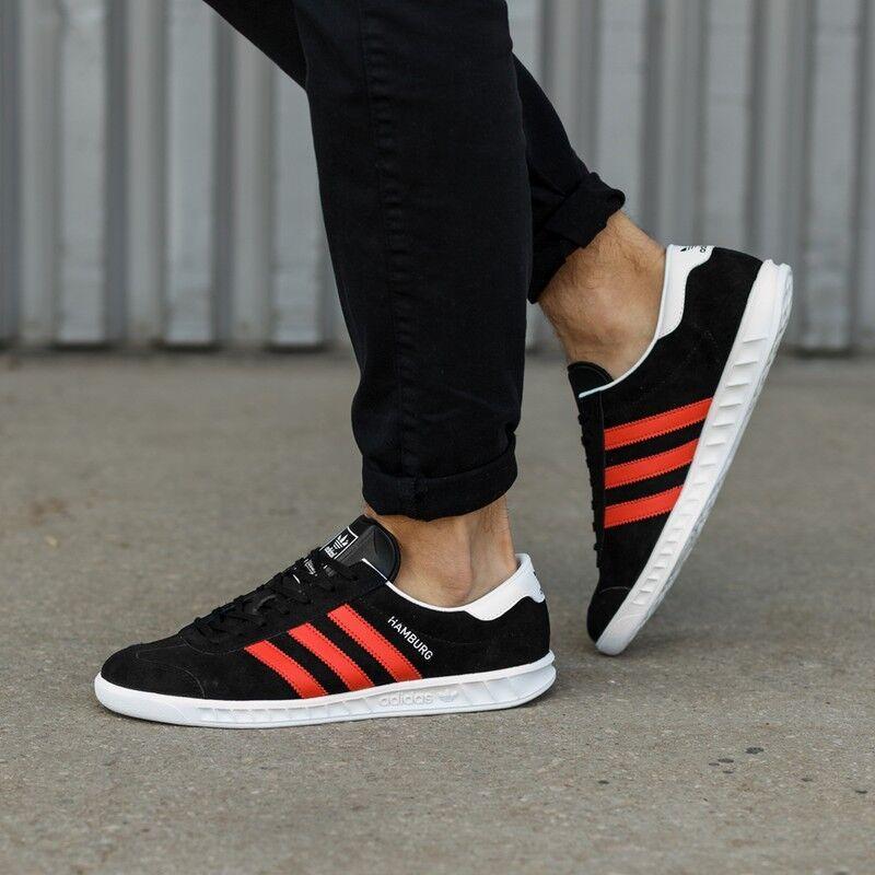 Adidas Hamburgo                   raros 9,5 Negro Suede / raya roja nueva Spezial Samba c55b28