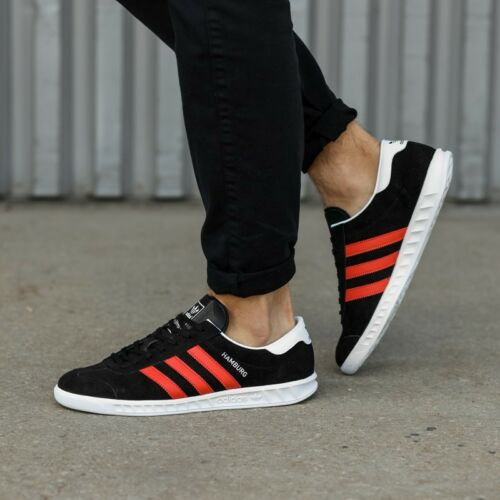 Adidas Hamburg ++++ RARE++++ 9 BLACK SUEDE / RED STRIPE NEW spezial samba hot sale