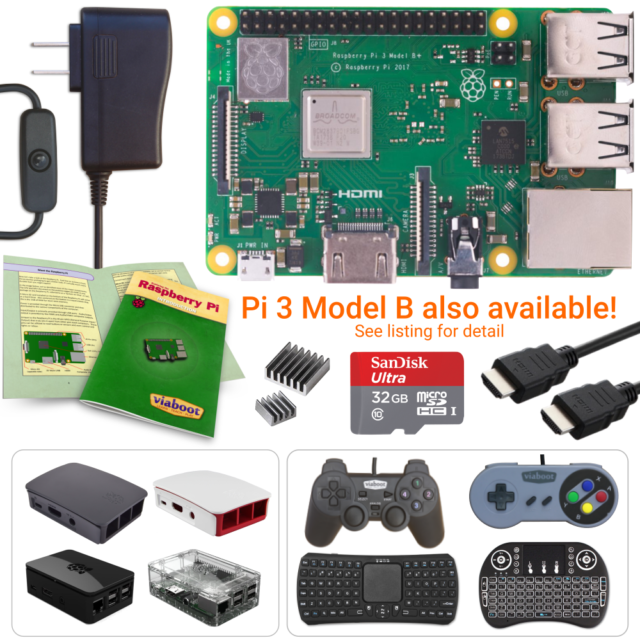 Premium Black Case Edition Viaboot Raspberry Pi 3 Ultimate Kit /— Official Micro SD Card