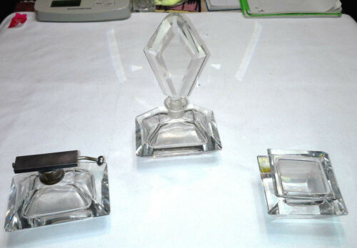 3 Piece Set Clear Heavy Glass Perfume Bottles and Lidded Jar