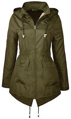 Intelligent New Womens Fishtail Plain Detachable Hooded Parka Raincoats Jackets 18-24