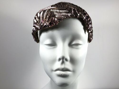 Glamorous Purple Sequin Pill Box Hat 1940s Vintage
