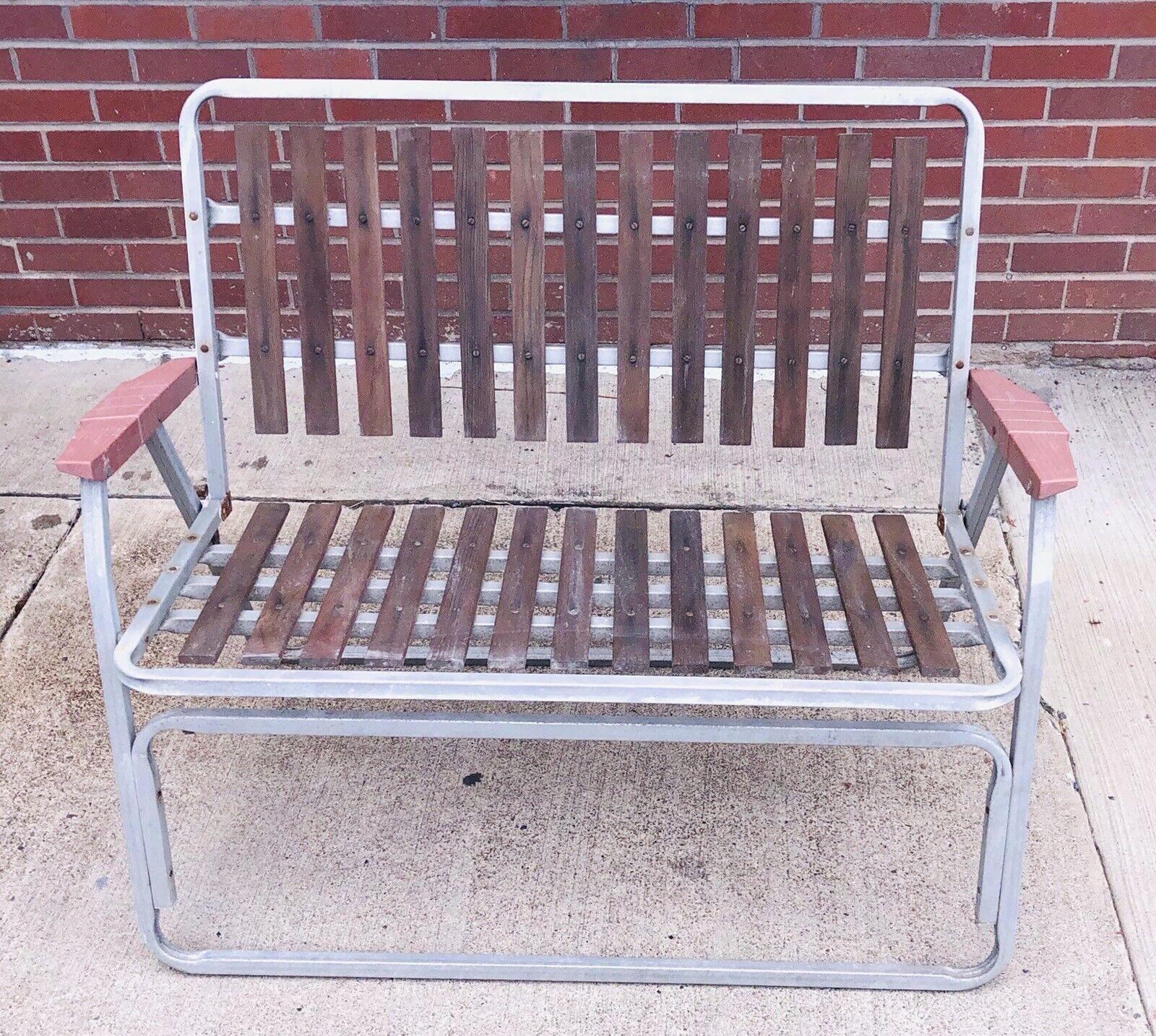 Vintage Folding Bench  Fishing Camp Chair Retro Tribal  Wood aluminum Seat