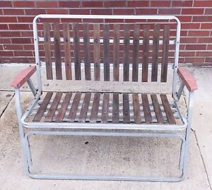 Awesome Details About Vintage Folding Bench Fishing Camp Chair Retro Tribal Wood Aluminum Seat Pabps2019 Chair Design Images Pabps2019Com