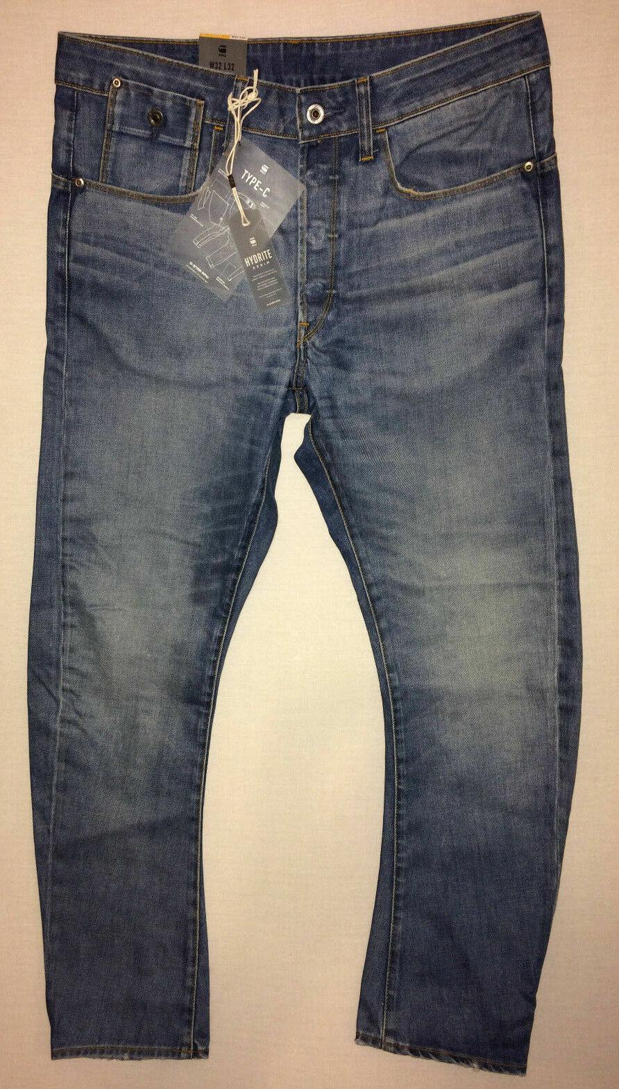 G  Estrella Hombre Jeans Azul Denim Tipo C 3D Cónico HYDRITE oscuro envejecido W32 L34  primera reputación de los clientes primero
