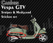 Black Carbon Vespa GTV Stripe Decal Sticker Kit GT V 125, 200, 250, 300,  G T V