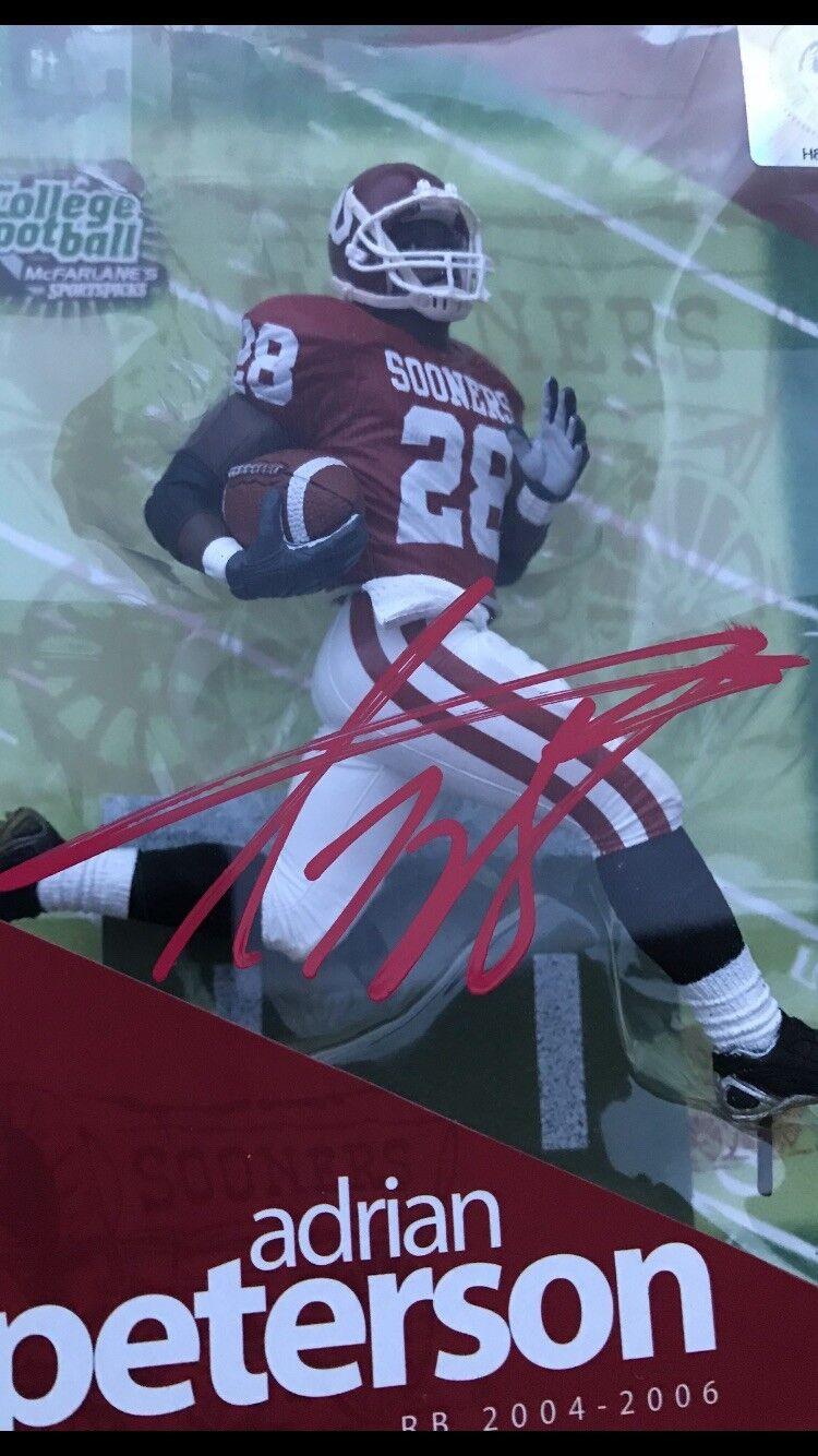 Adrian Peterson Mcfarlane Oklahoma Sooners autografiado de la serie de fútbol de la Universidad