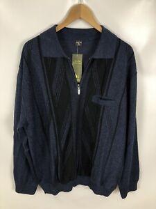 MAI-LY-Herren-Pullover-Vintage-Groesse-XL-schwarz-blau-streifen-Kragen-Neu