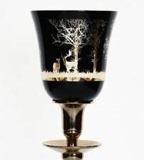 Parts4Living Glas Teelichthalter mit Wald und Rentiermotiv weiß gold 10x12,5 cm