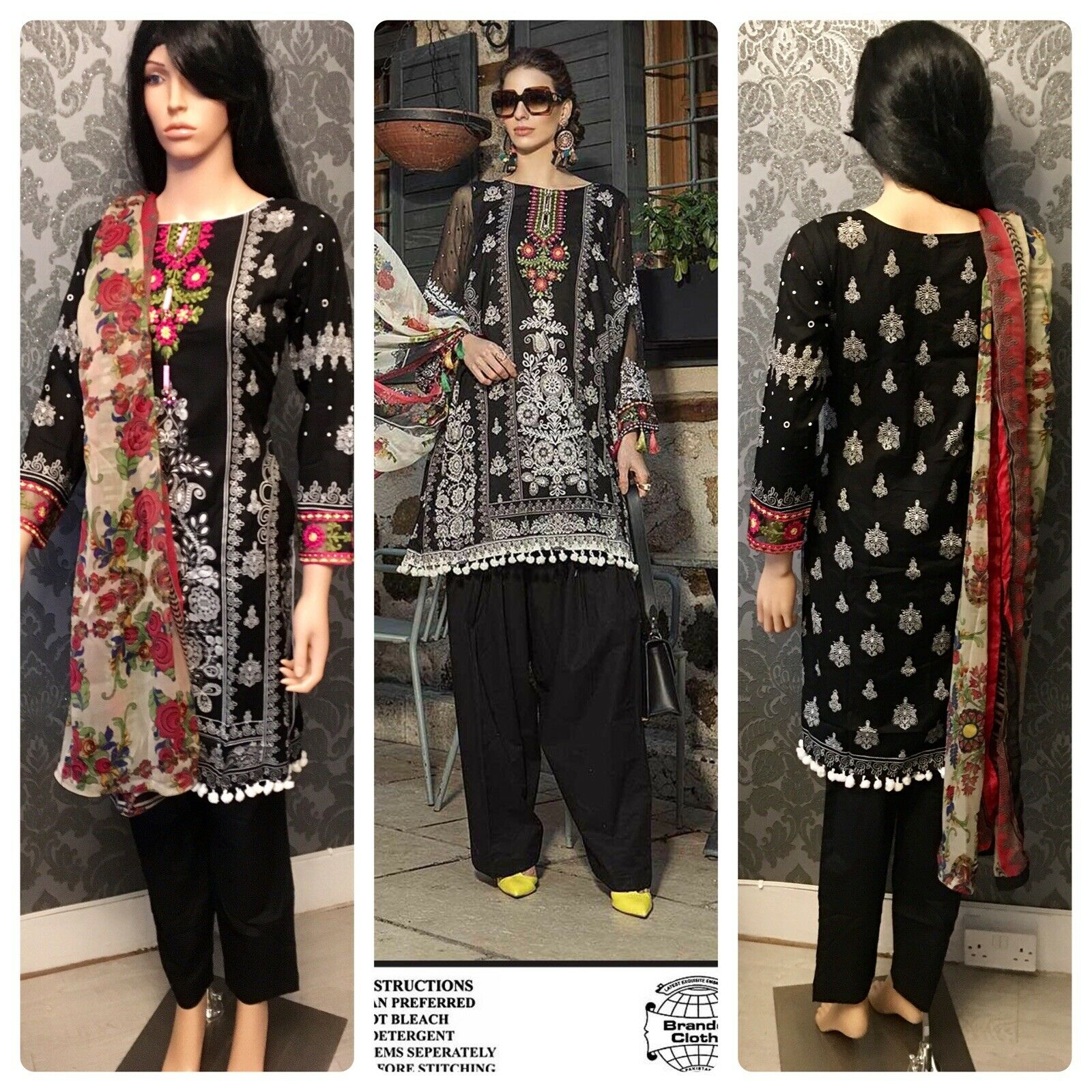 STITCHED MARIA B LUXURY EMBROIDERED LAWN SIZE SMALL