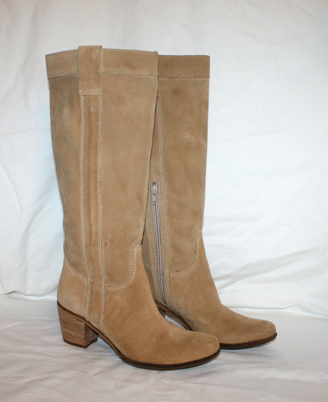 Manas Design Women's Beige Suede High Knee Boots Size 37 7