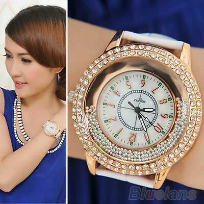 Women Girls Striking Leather Band Shinning Rhinestones Quartz Wrist Watch BK7K