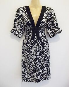 Stunning-luxe-black-abstract-print-dress-by-high-end-brand-REVIEW-sz10-AS-NEW