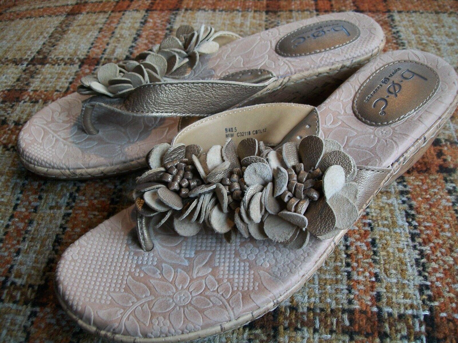 Born BOC Womens Size 9 / 40.5 M/W Bronze Floral Thong Sandals C32118
