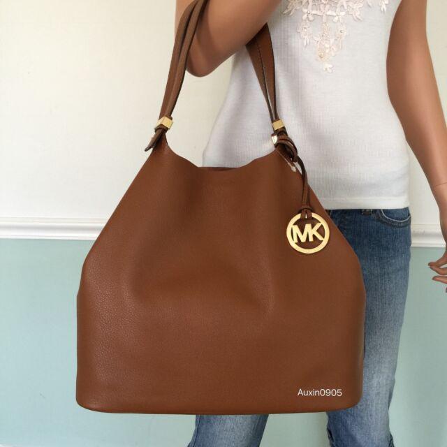 50fb7684639c MICHAEL KORS Colgate Soft Leather Lg Grab Tote Shoulder Bag Purse Brown