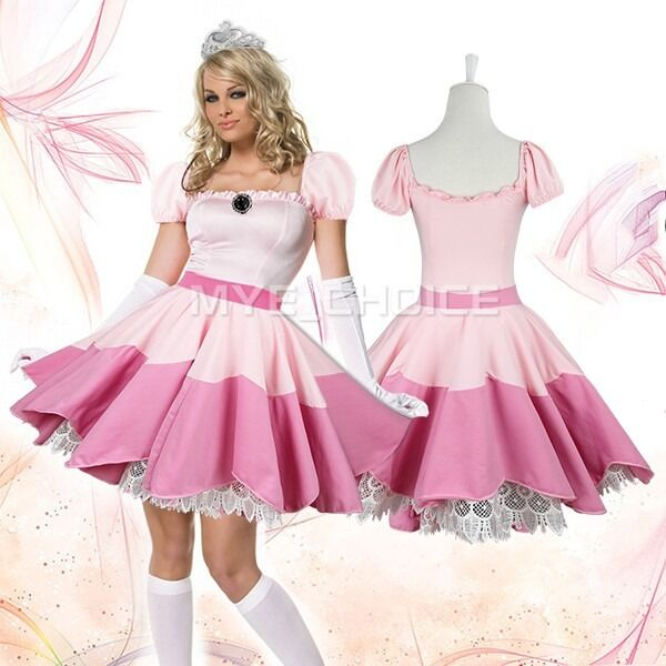 Sexy Lady Cosplay Princess Peach Costume Fancy Dress Gaming Outfits One Size