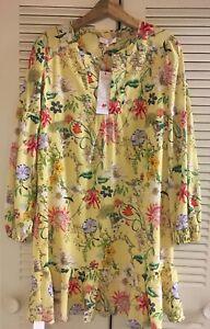 NWT$398 Parker New York Yellow Floral Print Ruffle Long Sleeve Mini Dress Silk S