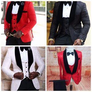 Image Is Loading Custom Groomsmen Groom Tuxedos Red White Black Men