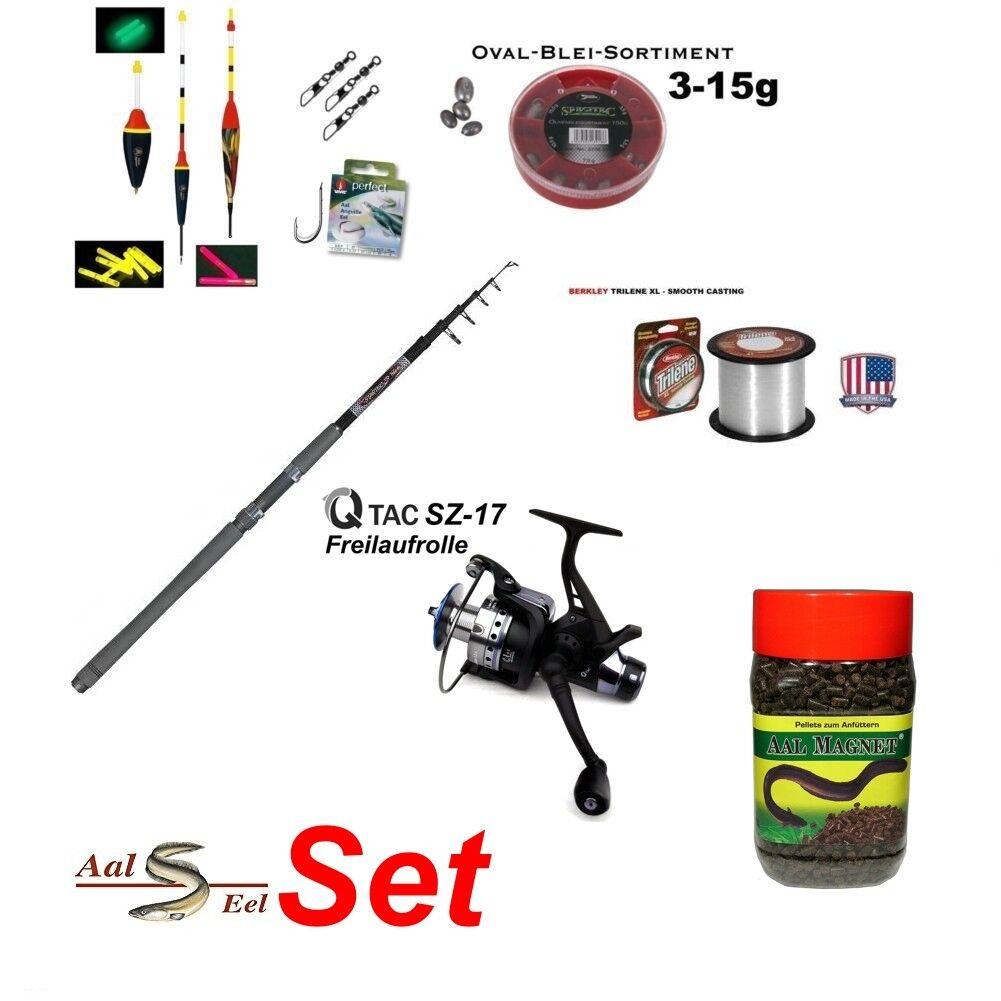Aal Komplett Set Set Komplett Tele 80 3,00m  + 2BB QTac Baitrunner SZ17-Free 2030 Aalmagnet 99a35e