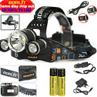 Hunting BORUiT 30W 13000Lm 3X XML T6 LED Headlamp Fishing Torch 2X 18650 Charger