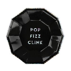 8-Luxe-Noir-amp-Argente-Holographique-Celebration-Assiettes-en-Papier-Pop-Clink