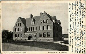 1908-WHITINSVILLE-MASS-HIGH-SCHOOL-POSTCARD-KK2