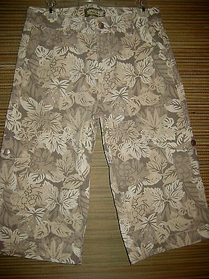 Kikit Jeans Long Denim Shorts Beige and Cream Floral Camo Cargo Size 8