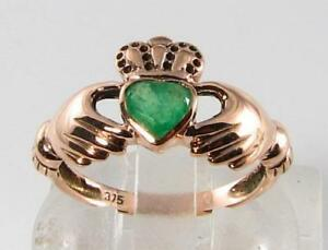 LOVELY-9CT-9K-ROSE-GOLD-COLOMBIAN-EMERALD-CLADDAGH-HEART-ART-DECO-INS-RING