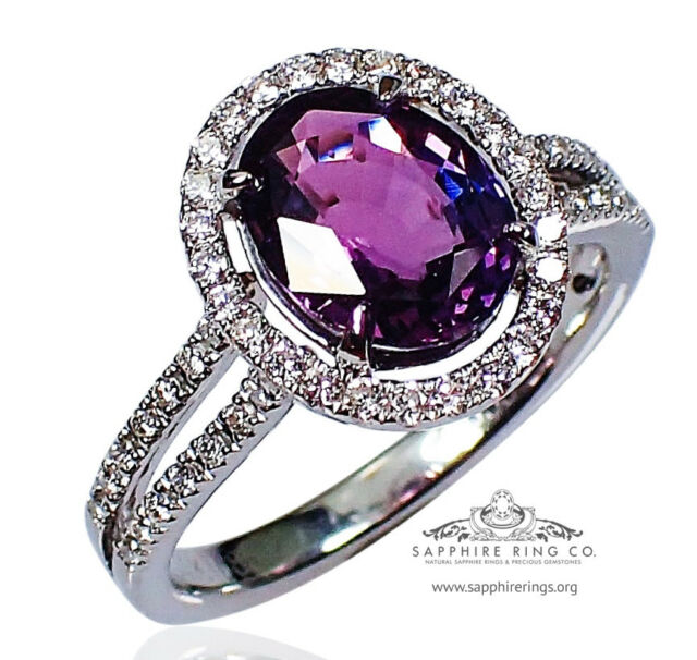 GIA Certified 14KT Gold 2.91 tcw Purple Oval Natural Sapphire & Diamond Ring