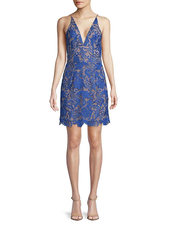 NEW Dress the Population Blau Ava Lace Mini Dress - Größe XL