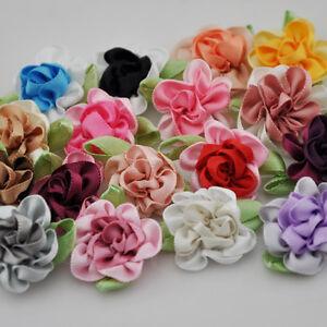 20pcs-2tone-Satin-Ribbon-Flowers-Bows-Appliques-Craft-Wedding-U-pick-E47