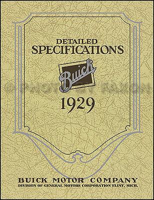 1929 Buick Dettagliato Specifiche Manuale Specifiche Libro 29