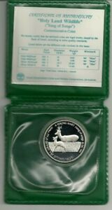 Israel-1993-034-Holy-Land-Wildlife-034-Hart-and-Apple-PR-Coin-28-8g-Silver-COA-Case
