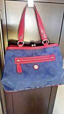 Coach 14940 Laura Signature Tote/ Shoulder Bag Navy/Magenta NWOT