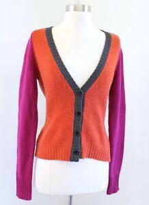 ETRO Cashmere Wool Blend V Neck Cardigan Sweater Size 42 Orange Pink Gray