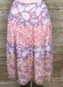 Axcess Liz Claiborne Pink Purple Floral Long Skirt Sz 10 Boho modest