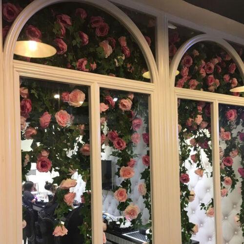 2.45M Artificial Fake Silk Rose Flower Ivy Vine Garland Wedding Party Home Decor