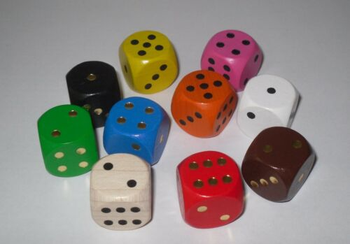 10 CUBE XL en érable 20 mm 10 Couleurs Mélangé Cube jeu ludo comptoirs jeu