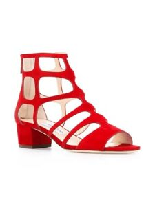 e29654171a2f New In Box Jimmy Choo Ren 35mm Red Suede Block-Heel Sandals 35.5 5.5 ...