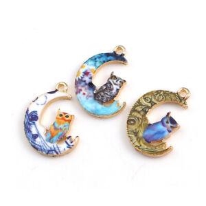 10Pcs-Enamel-Moon-Cat-Alloy-Charms-Pendants-DIY-Crafts-Necklace-Jewelry-Making