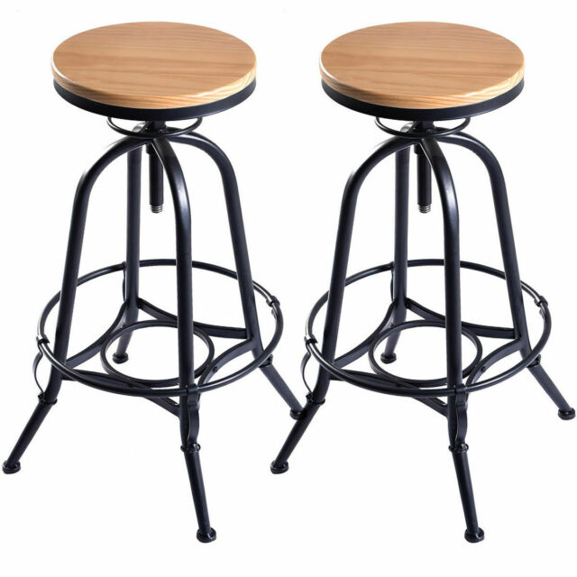 Fine Vintage Set Of 2 Wood Bar Stools Industrial Metal Design Top Adjustable Swivel Squirreltailoven Fun Painted Chair Ideas Images Squirreltailovenorg
