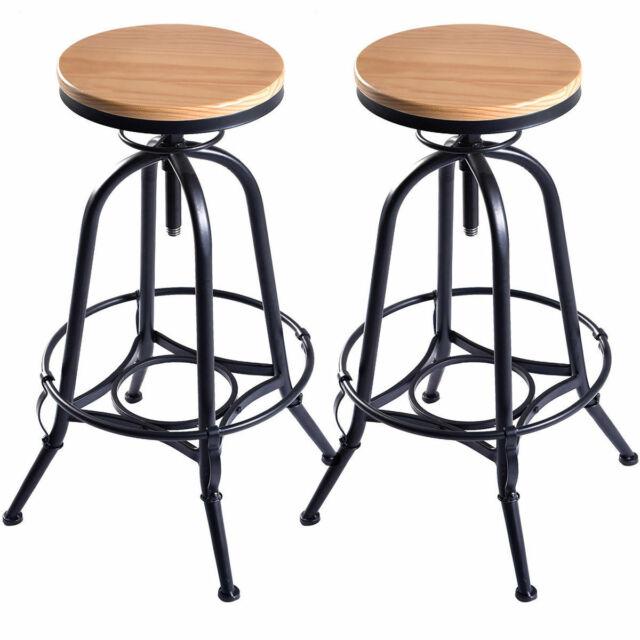 Admirable Vintage Set Of 2 Wood Bar Stools Industrial Metal Design Top Adjustable Swivel Forskolin Free Trial Chair Design Images Forskolin Free Trialorg