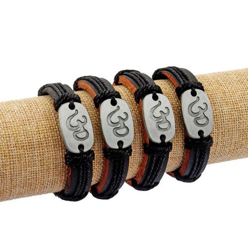 1Pcs Noir Cuir Bracelet Bracelet Sculpté Om Yoga Symbole Bijoux Bangle