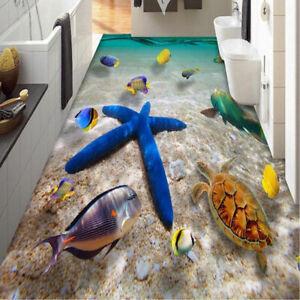 3D-blauer-Seestern-Fussboden-Aufkleber-Strand-Wand-Aufkleber-PVC-Art-Decal-Dekor