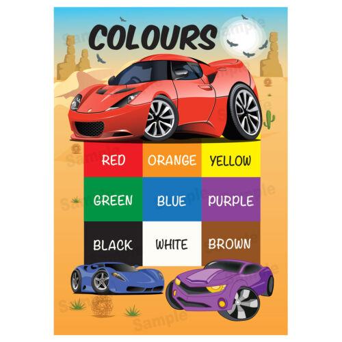 Couleurs Affiche Tableau Mural educational kids enfant premier apprentissage Poster voiture thème