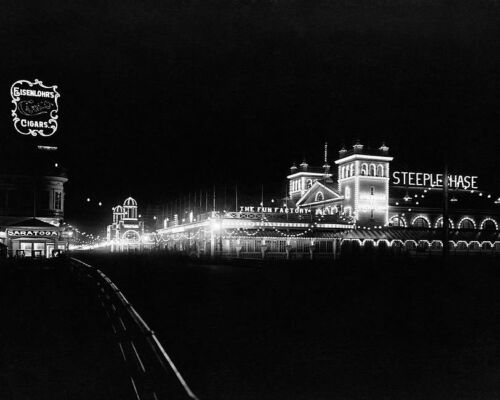 ATLANTIC CITY BEACH BOARDWALK AT NIGHT 1911 8x10 SILVER HALIDE PHOTO PRINT