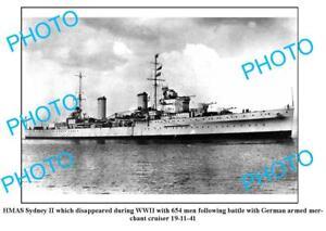 OLD-LARGE-PHOTO-ROYAL-AUSTRALIAN-NAVY-HMAS-SYDNEY-II-c1941